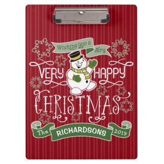 Snowman Happy Christmas Typography Custom Banner Clipboard