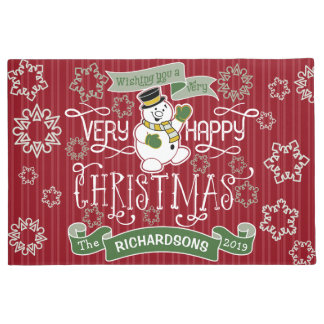 Snowman Happy Christmas Typography Custom Banner Doormat