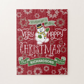 Snowman Happy Christmas Typography Custom Banner Jigsaw Puzzle