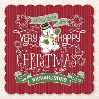 Snowman Happy Christmas Typography Custom Banner Paper Coaster