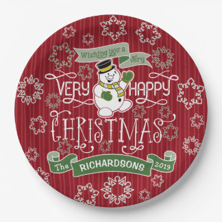 Snowman Happy Christmas Typography Custom Banner Paper Plate