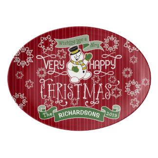 Snowman Happy Christmas Typography Custom Banner Porcelain Serving Platter