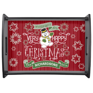 Snowman Happy Christmas Typography Custom Banner Serving Tray