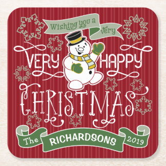 Snowman Happy Christmas Typography Custom Banner Square Paper Coaster