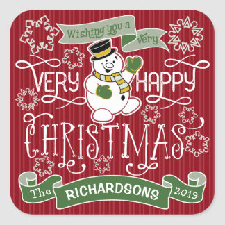 Snowman Happy Christmas Typography Custom Banner Square Sticker