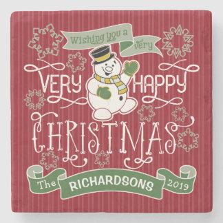 Snowman Happy Christmas Typography Custom Banner Stone Coaster