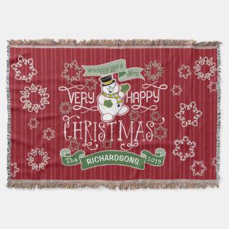 Snowman Happy Christmas Typography Custom Banner Throw Blanket