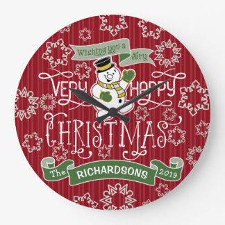 Snowman Happy Christmas Typography Snowflakes Red Large Clock