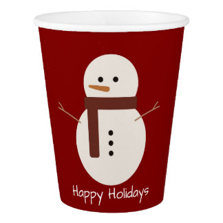 Snowman Happy Holidays Paper Cup