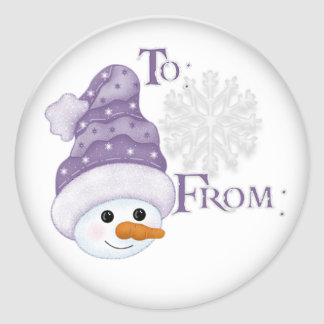 Snowman hat Gift tag Round Stickers