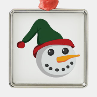 Snowman Head Silver-Colored Square Decoration