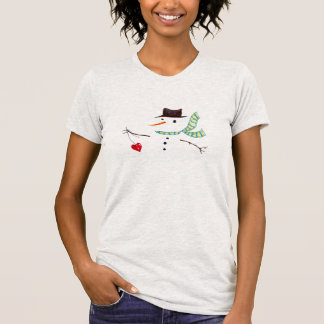 Snowman Heart Illustrated Winter Design T-Shirt