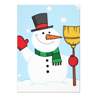 Snowman Holding A Broom Invitations