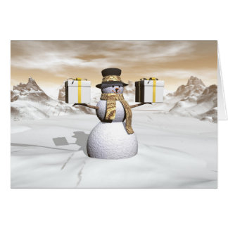 Snowman holding gifts card