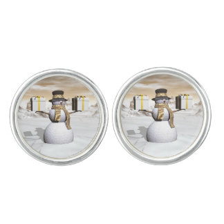 Snowman holding gifts cuff links