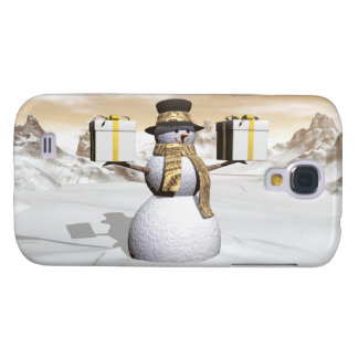 Snowman holding gifts galaxy s4 case