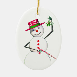 Snowman Holding Mistletoe Ceramic Ornament