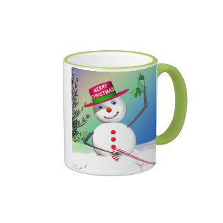 Snowman Holding Mistletoe Ringer Mug