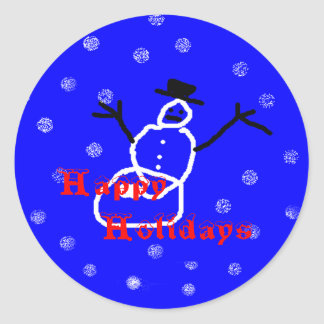 Snowman Holiday Christmas Stickers Round Template