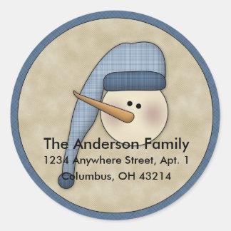Snowman Holiday D1 Return Address Labels Round Sticker