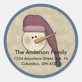 Snowman Holiday D2 Return Address Labels Round Sticker