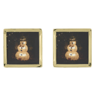 Snowman Holiday Light Display Gold Finish Cufflinks