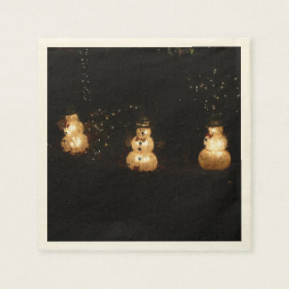 Snowman Holiday Light Display Paper Napkins