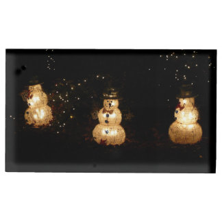 Snowman Holiday Light Display Table Number Holder