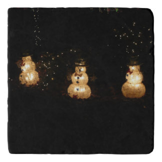 Snowman Holiday Light Display Trivet