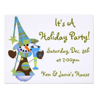 Snowman Holiday Party Personalized Announcements