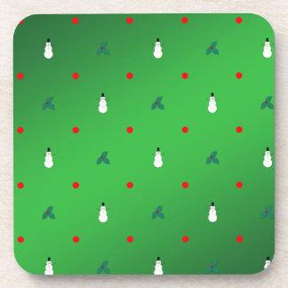 Snowman Holly Polka Dot - On Green Drink Coasters