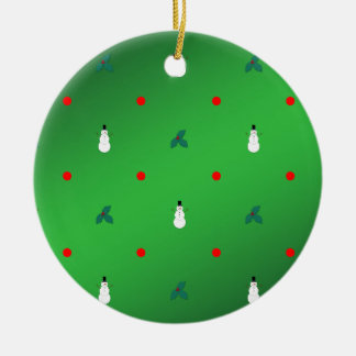 Snowman Holly Polka Dot - On Green Round Ceramic Decoration