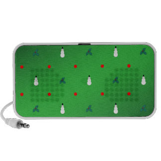 Snowman Holly Polka Dot - On Green Laptop Speakers
