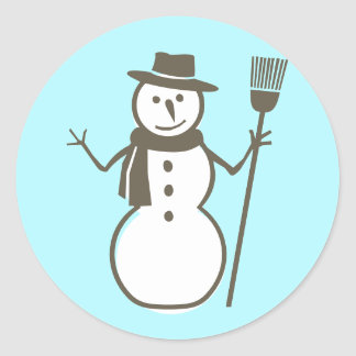 Snowman ice blue round sticker