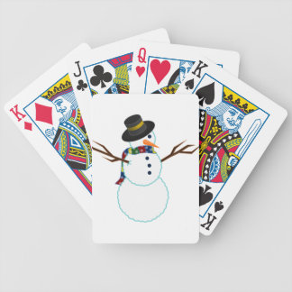 Snowman Illustration Bicycle Playing Cards