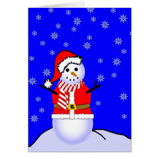 Snowman in a Santa Suit with Candy Striped Scarf Greeting Card