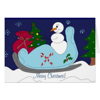 Snowman in a Sleigh Card
