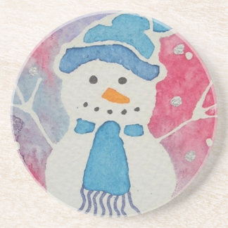 snowman in a wooly hat coaster