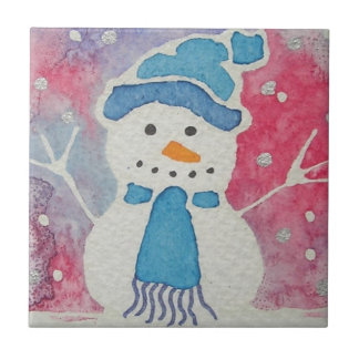snowman in a wooly hat small square tile