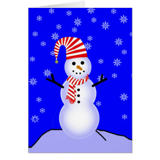 Snowman in Candy Cane Striped Hat and Scarf Greeting Card