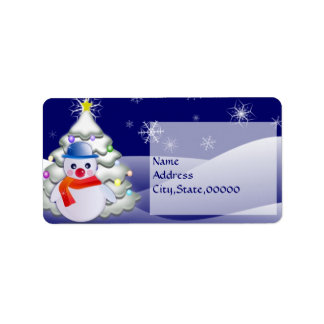 Snowman in Christmas Night Label Address Label