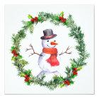 Snowman In Christmas Wreath Card