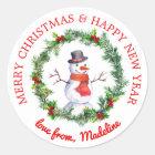Snowman In Christmas Wreath Classic Round Sticker