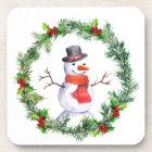 Snowman In Christmas Wreath Coaster