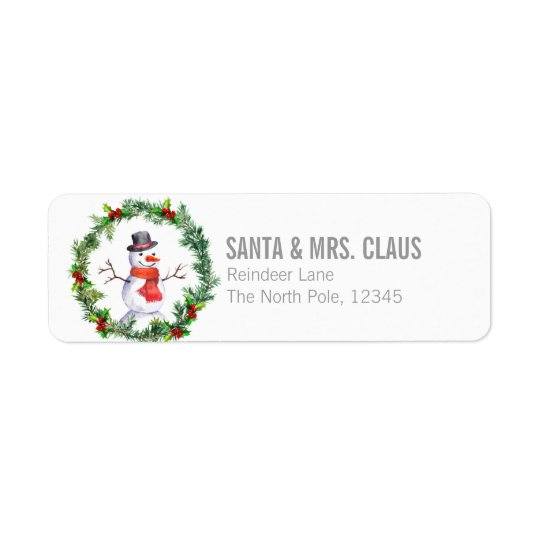 Snowman In Christmas Wreath Return Address Label