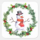 Snowman In Christmas Wreath Square Sticker