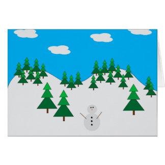 Snowman in field card
