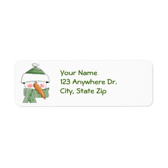 Snowman in Green Return Address Label
