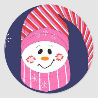 Snowman in Pink and Red Hat Classic Round Sticker