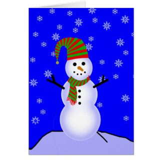 Snowman in Red n Green Striped Hat and Scarf Card